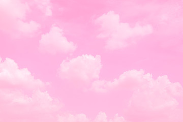 Beautiful sky and clouds in soft pastel color.Soft cloud in the sky background colorful pastel pink tone.