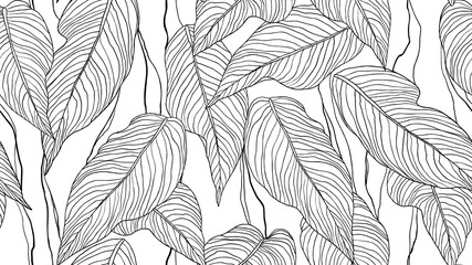 Foliage seamless pattern, leaves line art ink drawing in black and white