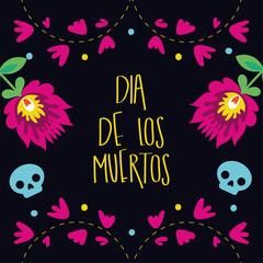 dia de los muertos card lettering with flowers garden decoration
