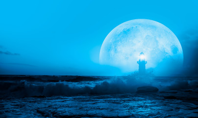 Night sky with lighthouse, in the background amazing blue stars in the clouds