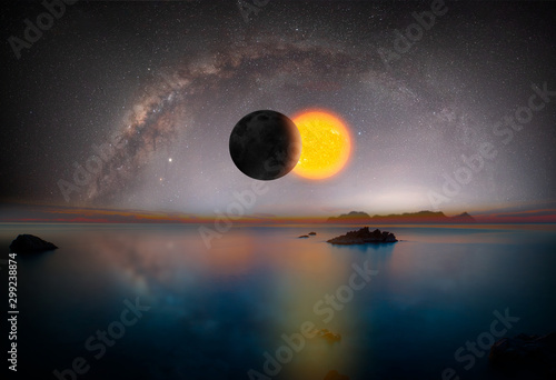 Wall mural Solar Eclipse with milky way