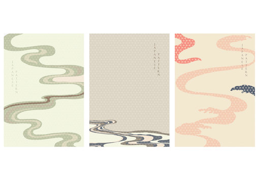 Japanese background with abstract arts vector. Geometric pattern in Asian style. Oriental template with wavy elements. Sea surface wallpaper. Zen poster design.