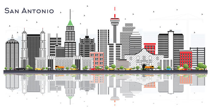 San Antonio Texas City Skyline with Gray Buildings and Reflections Isolated on White.
