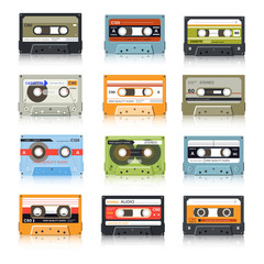Cassette tapes, retro audio records, vintage media device isolated icons