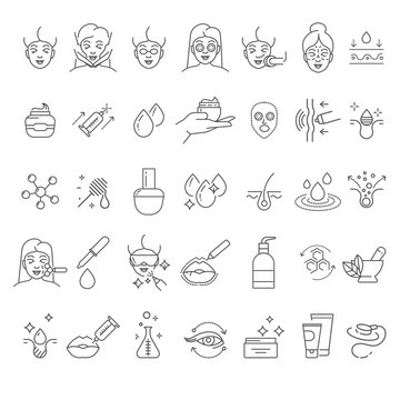 Skincare and cosmetology, beauty therapy and healthcare, isolated linear icons