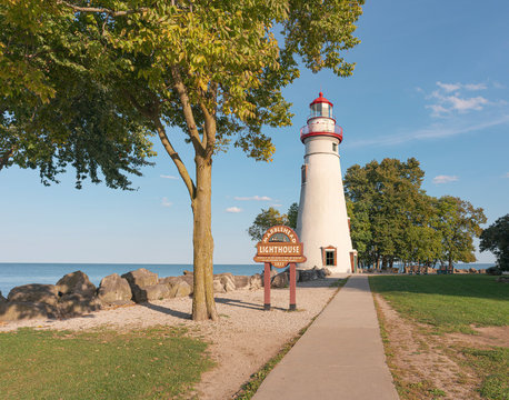 Marblehead Lighthouse State Park on Lake Erie, Marblehead, Ohio on a fall day,