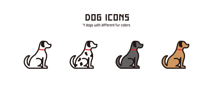Vector dog icons. 4 dogs with different fur colors.