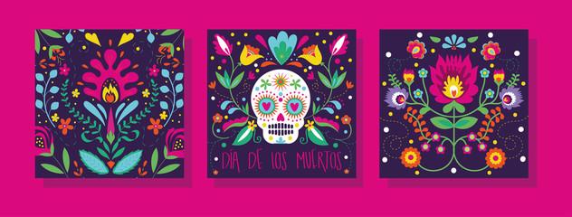 dia de los muertos set cards icons