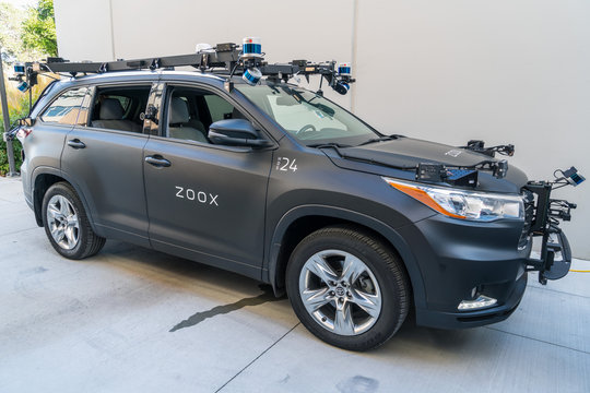 Oct 19, 2019 Menlo Park / CA / USA - Zoox self driving vehicle presented at SLAC Community Day; Zoox has been working on creating an entirely new autonomous vehicle targeted at the robo-taxi market
