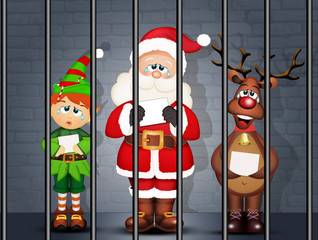 illustration of Santa Claus, Elf and reindeer in prison