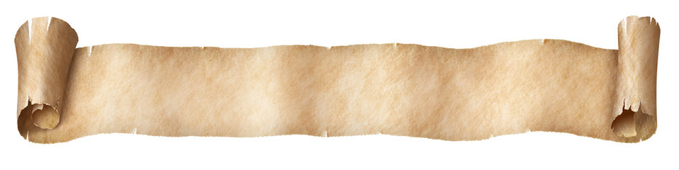Narrow paper fantasy style scroll isolated on white