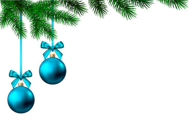 Fotomurales - New Year background with blue Christmas ball and spruce branch.
