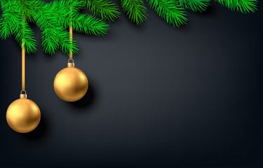 Fotomurales - Black  background with golden Christmas ball and spruce branch.