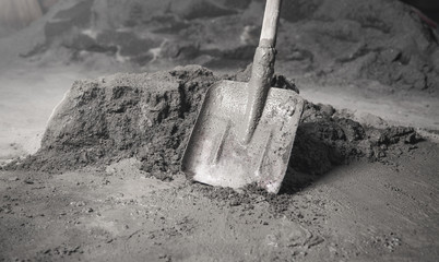 Shovel with a cement. Renovation, Work, Apartment