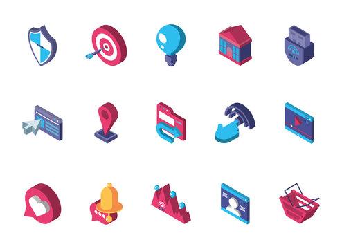 data internet technology isometric icons set