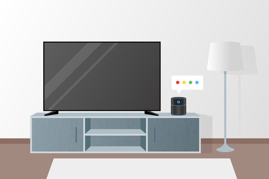 Smart Speaker on Living room Voice Recognition Tv Voice Control Illustration Vector