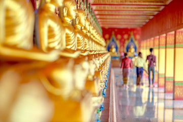 The beautiful sculpture background of, Wat Bang Thong, surrounded by trees, has a large area, is a religious tourist attraction in Krabi, with tourists always visiting, Thailand