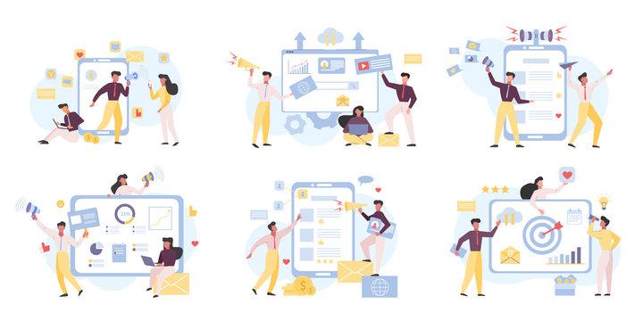 Internet marketing, digital advertisement flat vector illustrations set