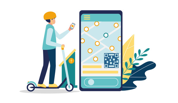 Mobile application for electric scooters sharing. A young man in a helmet rides a kick scooter. Smartphone app with map navigation. Charging and payment station. Vector illustration