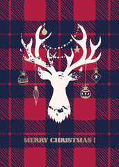 Christmas Card with a White Textured Silhouette of a Deer Head with Gold Hand-Drawn Baubles on Buffalo Checks Background