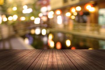 top desk with blur restaurant background