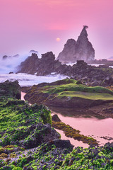 Tuinposter Aubergine Beautiful sunset under the red sky and waves, with coral cliff, Indonesia