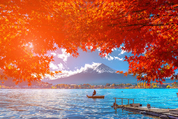 Foto op Plexiglas Asia land Autumn at Fuji mountain in Japan.