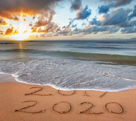 New Year 2020 is coming concept. Happy New Year 2020 replace 2019 concept on the sea beach