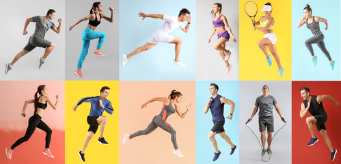 Collage with young sporty people
