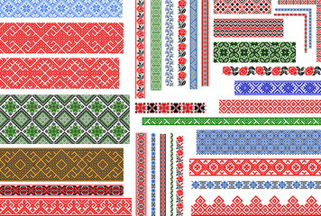 Set of editable Ukrainian traditional seamless ethnic patterns for embroidery stitch. Vintage floral and geometric ornaments.