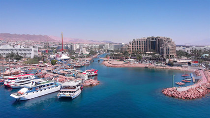 Drone Image over Eilat shoreline With Marina boats And hotels in the summer
