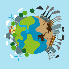 Ecology cartoon comparative concept with clean planet because of use alternative energy sources and dirty earth due to industrial environmental pollution vector illustration