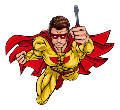 A super electrician or maintenance engineer hero superhero holding a screwdriver