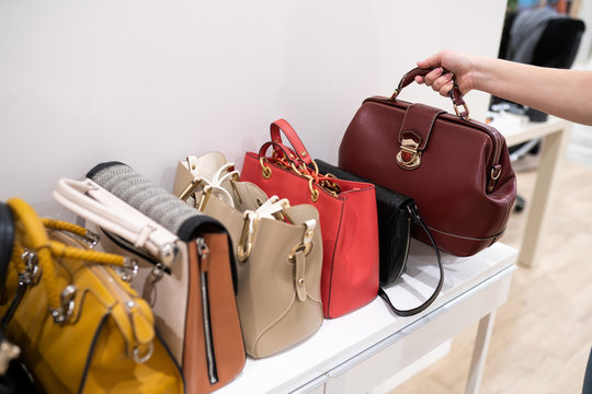 Woman taking her favourite handbag from collection of expensive fashinable bags standing on the shelf