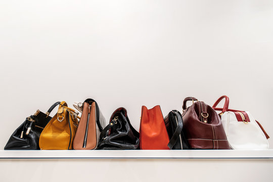 Close up collection of woman feminine handbags, standing in a row on shelf