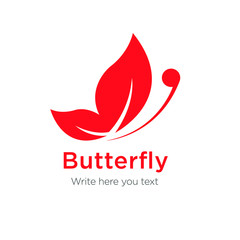 Butterfly as red color abstract logo
