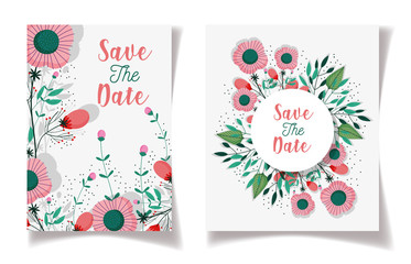 wedding save the date floral label fowers ornament
