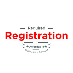 Registration Required, registration counter to fill forms, vector red on white
