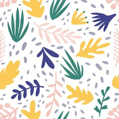Abstract plants flat vector seamless pattern. Minimalistic foliage and branches texture. Beautiful botanical background. Colorful twigs and leaves. Floral wallpaper, textile, wrapping paper design.