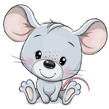 Cartoon Mouse isolated on a white background