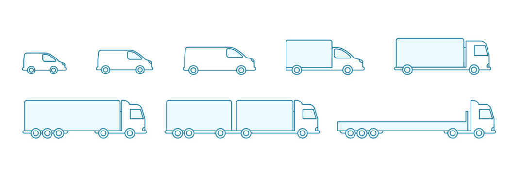 Delivery truck size set. Cargo transportation variation options. Shipping. Silhouette Infographic. Blue line flat vector icons.