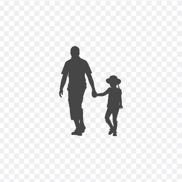 Walking father and daughter baby girl together, silhouette vector. Fathers day celebration. Stock Vector illustration isolated on white background.