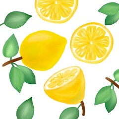 picture with the image of a juicy yellow lemon, half, slices and green leaves. for the design of the background, wallpaper and interior.