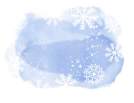 Abstract winter landscape on light blue watercolor spots with snowflakes on white background and copy space.