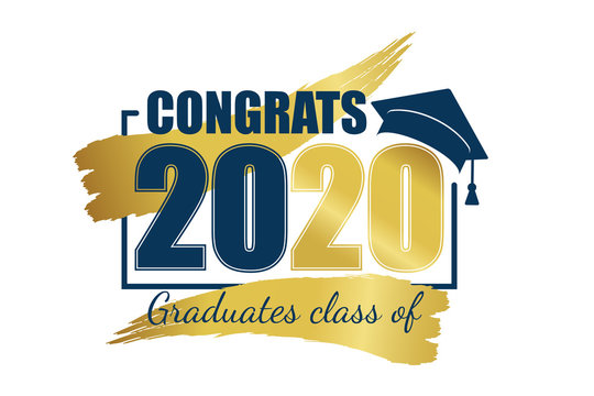 Class of 2020. Hand drawn brush gold stripe and number with education academic cap. Vector illustration.