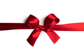 Wall Mural - Red gift bow on white