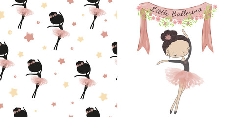 Little cute ballerina princess of the ballet. Decorative ribbon with flowers and inscription Little Ballerina.  Decorative seamless pattern with  black silhouette ballerina and stars on white backgrou