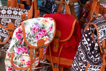 Bags (small backpacks) for sale at an touristic open air market place
