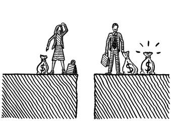 Drawn Gender Pay Gap Between Woman And Man