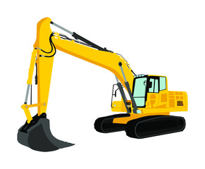 Big bulldozer loader vector isolated on white background. Dusty digger illustration. Excavator dozer for land. Under construction. Industrial building machine bager. Motor grader. Hard work industry.